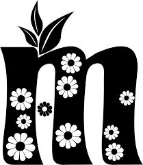 白黒モノクロの花文字イラストフリー素材英語の大文字no1052花
