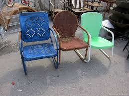 image of colorfull vintage metal lawn chairs