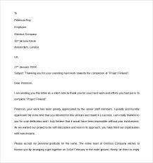 Thank You For The Hard Work Letter Sample Thank You Letter To Employer 18 Download Free