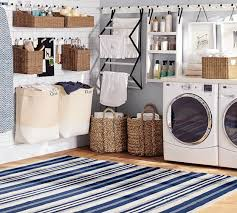 oxford stripe recycled yarn indoor outdoor rug blue