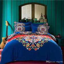 2016 blue bohemian bedding set queen king size boho style duvet covers bedsheet bedclothes soft sanded cotton comforter and sheet sets comforter sets