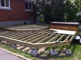 Two level deck Framing floating on Dek-Blocks. This is actually my deck.