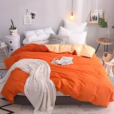 papa mima solid color orange and apricot duvet cover 100 cotton king queen full twin size