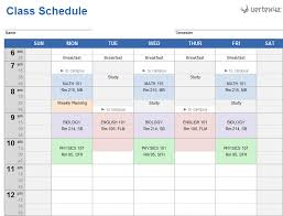 college selection spreadsheet weekly class schedule template for excel