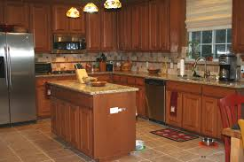 Kitchen, : Great Kitchen Design Ideas With Dark Brown Wood Kitchen Cabinet  Including Brown Tile Kitchen Backsplash And Light Brown Granite Counter Tops