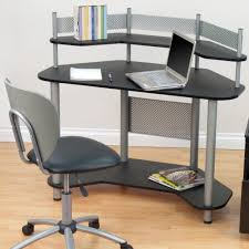 white gray solid wood office. Interior Corner Study Desk Black Swivel Office Chair Triangle Glass Top Combined Creamy Wall Paint White Gray Solid Wood A