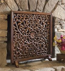 main image for carved wooden fireplace screen