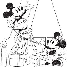 Mickey Minnie Christmas Coloring Page Disney Family
