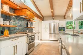 Updated Midcentury Modern Kitchen White Flat Panel Custom Cabinetry