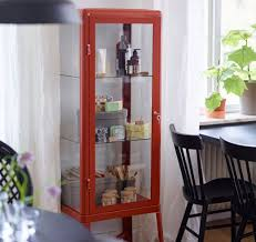 dining room storage cabinets. Red Glass Display Cabinet With Three Shelves Dining Room Storage Cabinets