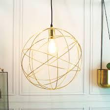 gold brass globe ceiling pendant light orb chandelier