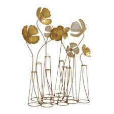 gold metal flower sculpture on flowers in vase metal wall art with modern contemporary gold metal wall art sculpture allmodern