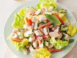 chicken salad. Perfect Salad Chicken Salad With Cucumber Red Pepper And HoneyMustard Dressing In L