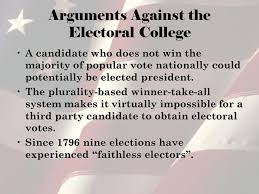 the electoral college of the united states emily halstead and ana arguments against the electoral college a candidate who does not win the majority of popular vote