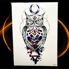 Us 101 10 Offblue Sky Galaxy Waterproof Tattoo Stickers Geometric Water Trasnfer Lion Eagle Head Totem Hill Watercolor Moose Temporary Tattoo In