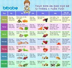 Thực đơn ăn dặm cho bé 12 tháng – Tuần 4 (Dành cho bé ăn dặm tích cực – Ngày  ăn 1-2 bữa) - bibabo.vn