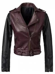 chic color block pu leather zippered biker jacket wine red s