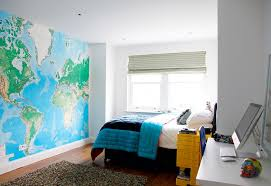teen bedroom ideas yellow. Cool Teenager Bedroom Decor With Large Wall Mural World Map Also Blue Bed Cover Plus Yellow Nighstand Cabinet On Brown Laminate Wooden Floor Teen Ideas