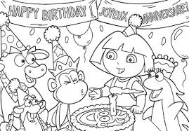 Small Picture Happy Birthday Coloring Pages Dora The Explore Birthday Coloring