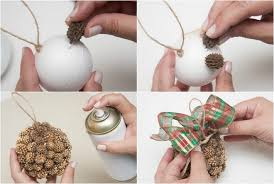 Decorated Styrofoam Balls Homemade Christmas tree ornaments 100 ideas with styrofoam balls 6