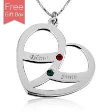 birthstones heart name necklace with 2 kids name