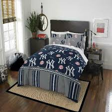 details about comforter set queen new york yankees mlb 5 pc bedding sheets blue bed in a bag