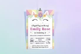 party invitation wording unique happy unicorn birthday party invitation design bundles
