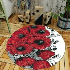 details about luxury round romantic red flowers area rug carpet