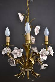 4 arm toleware chandelier with porcelain pink flowers