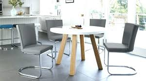 grey round dining table chairs and white gloss oak arc form 4 set