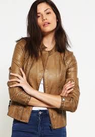 women jackets ltb iha faux leather jacket camel
