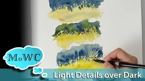 one of the biggest rules of watercolors is to paint dark over light because due to the translucency of watercolor you can t paint a light color over a dark