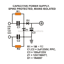 how to build a low cost and efficient transformerless power supply transformerless power supply ac mains isolated spike protected circuit diagram image