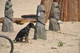 garden exterior cottage home handmade order moai statue from easter island out of concrete for