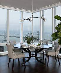 round black dining table with gray linen dining chairs view full size