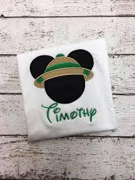 Safari Mickey Applique Design Personalized Safari Mickey Disney Design Green Products