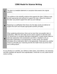 Scientific Writing Cerr Model For Science Writing