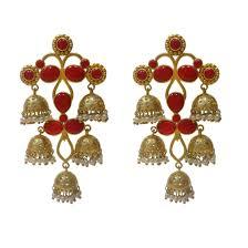 Artificial Jhumka Designs With Price Ratnatraya Red Artificial Gemstones Jhumka Earrings Fancy