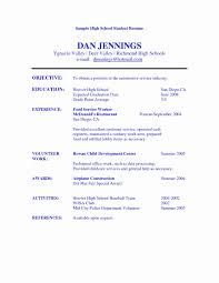 Highschool Cv Example Of High School Resume Stunning Resume Cover