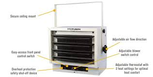 features for profusion heat ceiling mounted garage heater 17 065 btu 240 volts