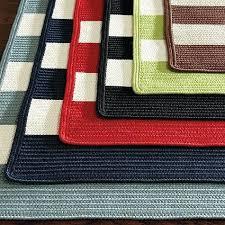 bathroom kitchen striped braided indoor outdoor rug via designs blue and white