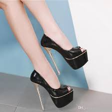 european 2019 new y patent leather platform pumps thin metal heel 16cm women high heels p toes party shoes beige black silver heels dress shoes from
