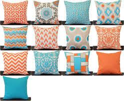 Orange And Aqua Throw Pillow Cover Orange Aqua Natural Grey