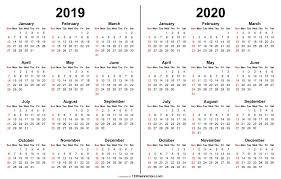 2019 2020 Calendar Print Calendar Printable Calendar