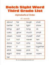 Third Grade Dolch Sight Words 3rd Grade Dolch Word List Alphabetical Order Dolch Sight Word List