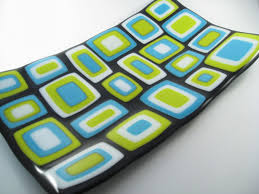 stacked fused glass plate by glass art by margot