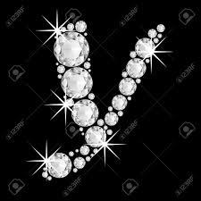 Luxury Jewelry Alphabet Or Font With Diamonds On Black Background
