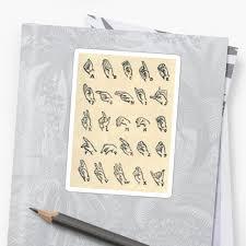 "Vintage Sign Language Alphabet Chart"" Stickers By Bluespecsstudio ..."