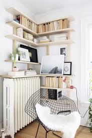 wood diy storage shelves in the corner of room