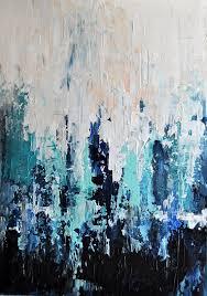 original textured abstract painting impasto seascape dark blue aqua black 15x18 inch